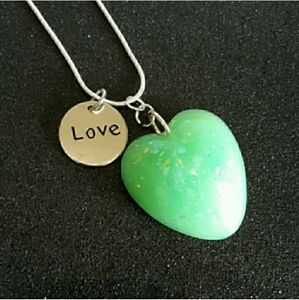 Jewelry - Heart shaped faux green opal silver necklace